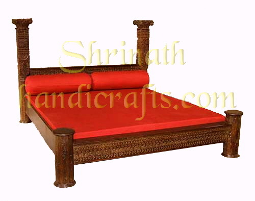 Heavy Carved Pillar Bed