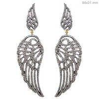 Silver Wings Dangle Pave Diamond Earrings