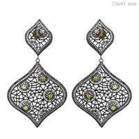 Natural Diamond Silver Filigree Earrings