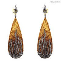 Cocktail Diamond Pave Gold Silver Earrings