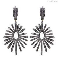 Gold Diamond Pave Silver Earrings