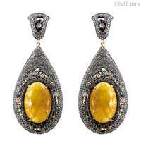 Sapphire Gemstone Pave Diamond Earrings