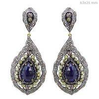 Gold Diamond Pave Gemstone Earrings
