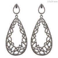Filigree Silver Pave Diamond Earrings