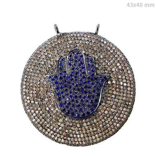Silver Pave Diamond Hamsa Lucky Pendant