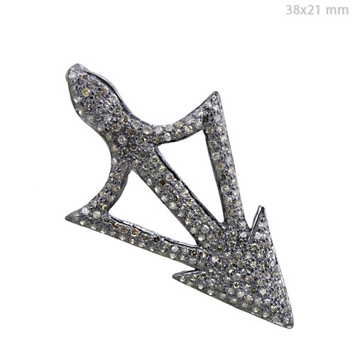 Arrow Pave Diamond Silver Pendant