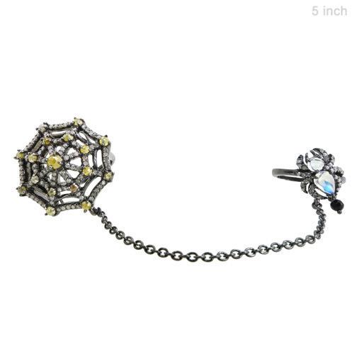 Diamond Spider Web Silver Slave Ring