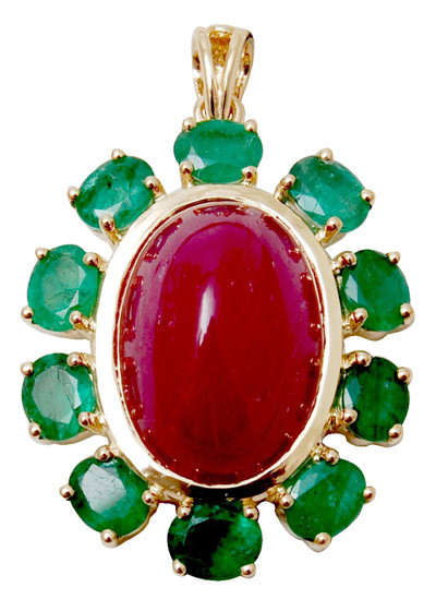 precious gemstone red color pendant,genuine gemstone solid gold pendant