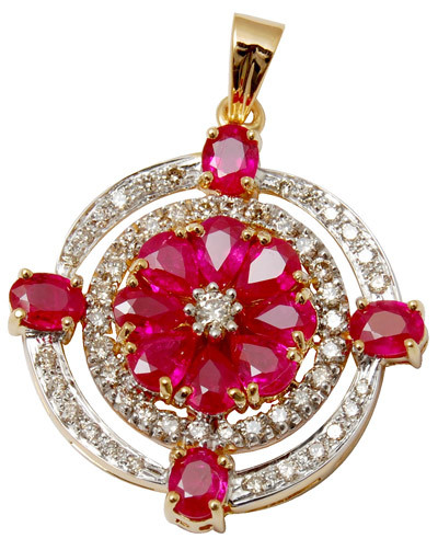 gold diamond pendent  with ruby stone,rounded diamond pendent