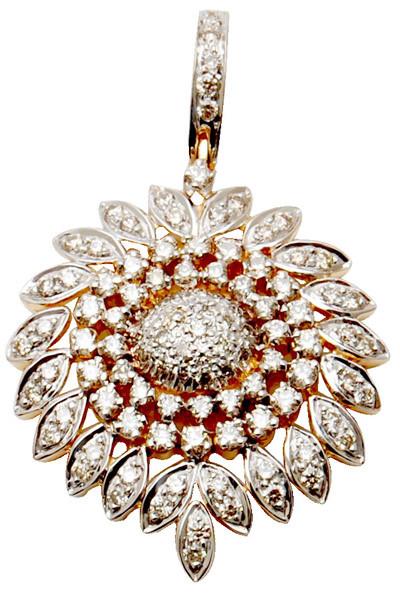 leaf design  gold diamond pendent  ,designer white gold diamond pendent