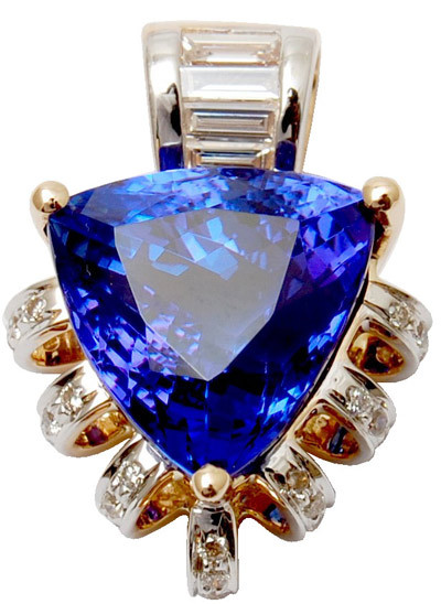 14k  gold diamond pendent for girls, trillion shaped tanzanite gold dimond pendent