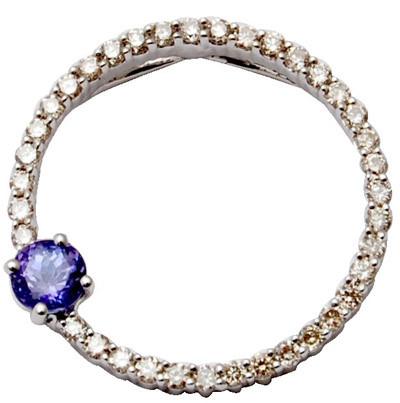 18k sapphire diamond pendent, blue sapphire diamond pendent