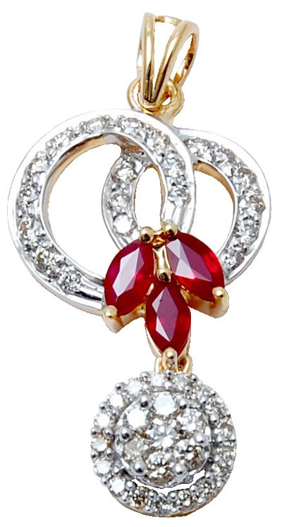 three marques ruby design pendent, latest design  jewellery