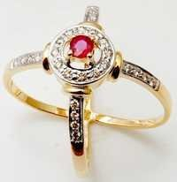 Round Ruby Stone Gold Ring, Cross Band Gold Ring