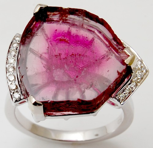 White Gold With Diamond Ring, Octagon Stone Ruby G