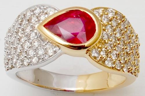 White Gold Ring For Man &Women, Ruby Stone Gold Ri