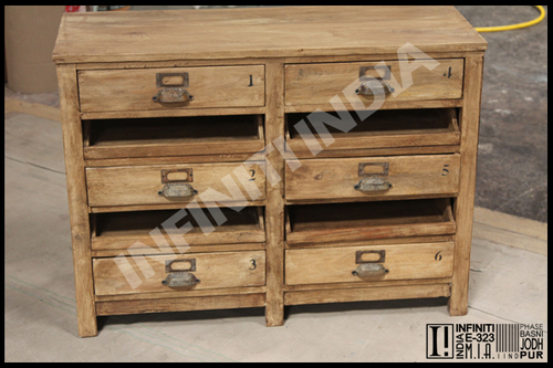 Vintage Wooden 6 Drawer Chest