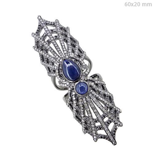 Sapphire Diamond Pave Long Ring