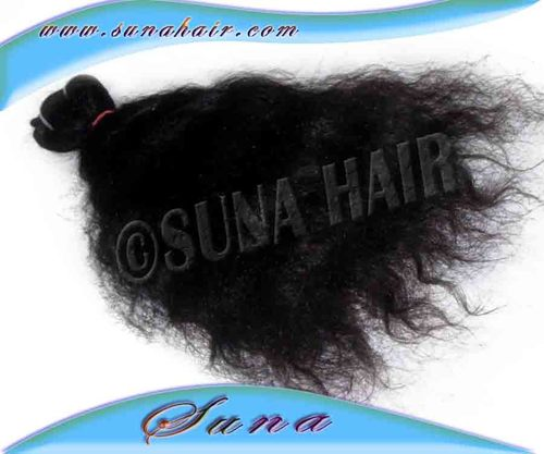 Beautiful indian machine weft virgin silky curly natural human hair