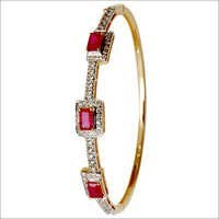 Octagon Red Ruby Gemstone Yellow Gold Bangle