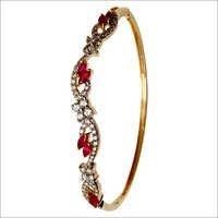 Designer Marquise Ruby Gemstone Half Bangle