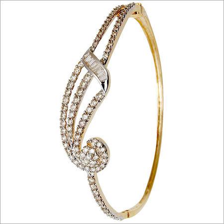 Yellow Gold Diamond Half Bangle Bracelet