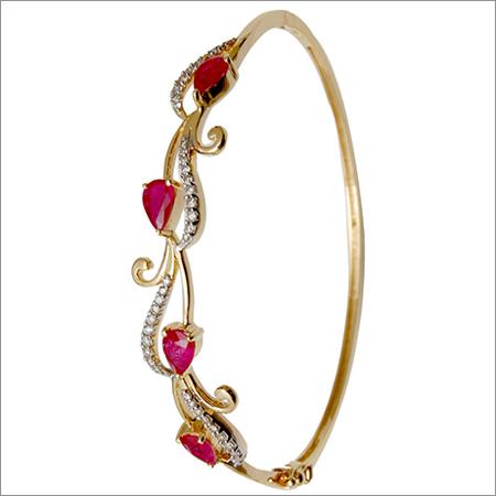 Ruby Stone Diamond Gold Bracelet Bangle