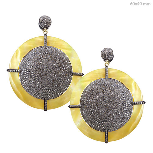 Pave Diamond Pearl Dangle Earrings