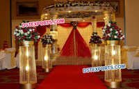 Indian Wedding Aisleway Crystal Pillars