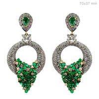 Vintage Gold Emerald Diamond Pave Earrings