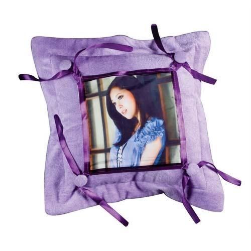 Purple Button Cushion