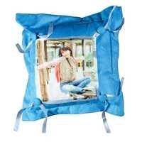 Sky Blue Button Cushion