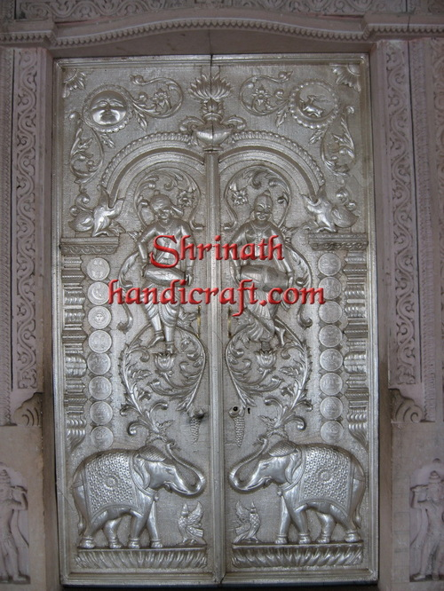 Silver/ Metal Mounted Over Carved Teak Door