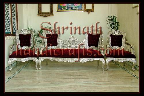Silver or Metal Mounted Sofa Set