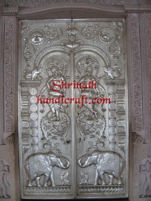 Silver/ Metal Mounted Over Teak Wood Doors