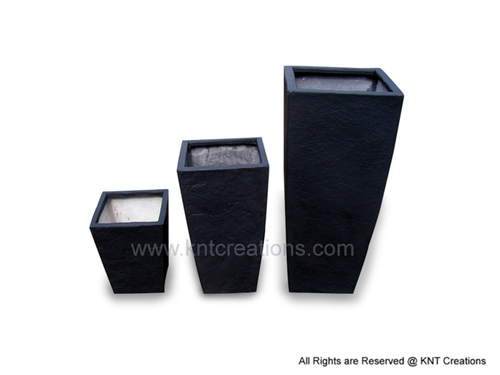 Tall Square Planter Set (Slate Black)
