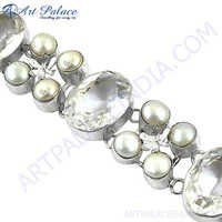 Latest Fashion Loose Gemstone Bracelets Jewelry, 925 Sterling Silver