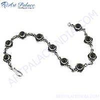 Handmade Simple Silver Gemstone Bracelets Jewelry For Women's