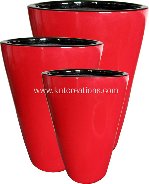 Fiberglass Glossy planters (Shiny Red)
