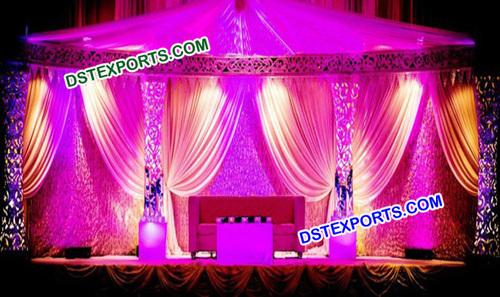 Asian Wedding Fiber Carved Pillar Stage Set