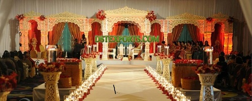 Asian Shadi Golden Carved Stage