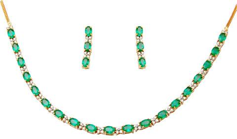 Best Gemstone Gold Necklace For Girls, Oval Emerla