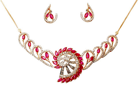 Ruby Gold Necklace For Womens, Designer Ruby