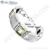 New Green Amethyst Stones In Silver Charm Bracelets Jewelry For Women & Men, 925 Sterling Silver