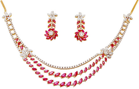 Peared Shape Ruby Gold Necklace, Three Row Gem