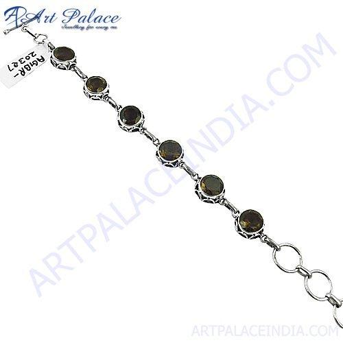 Smokey Quartz Cut Shape Simple plain Silver Gemstone Bracelets Jewelry, 925 Sterling Silver