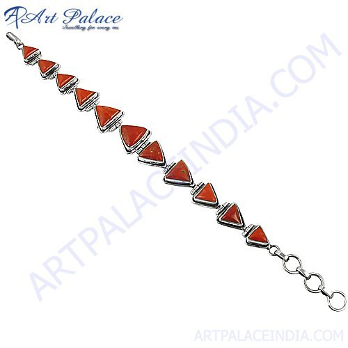 New Cherry Reddish Color Coral Gemstone With Silver Bracelets Jewelry, 925 Sterling Silver