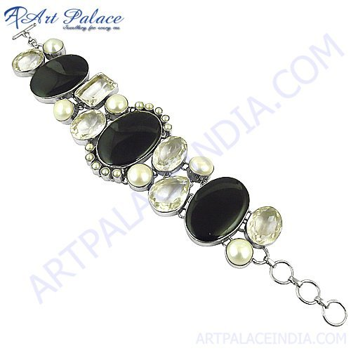 New Heavy Loose Crystal Gemstone Bracelets For Party wearing, 925 sterling Silver