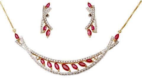 Ruby Gold Necklace Design For Girls, 14K And 18K