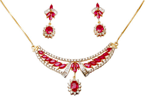 Mangalsutra Style Necklace  Ruby Gold Jewelry